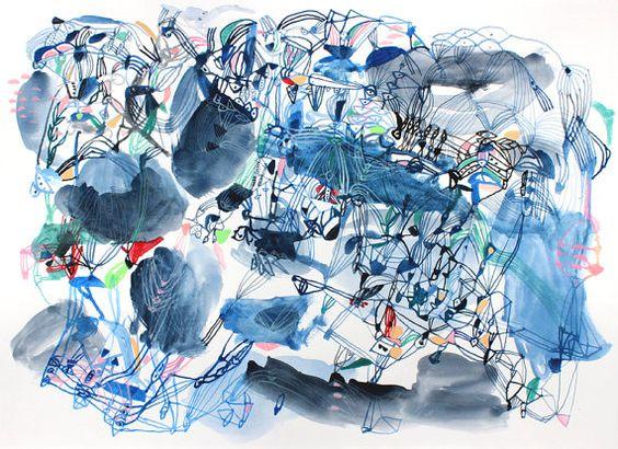 Blue World  Original watercolor painting by SarahGiannobile