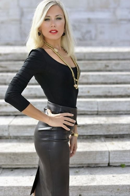 Ladies black leather pencil skirt – Fashion clothes in USA photo blog