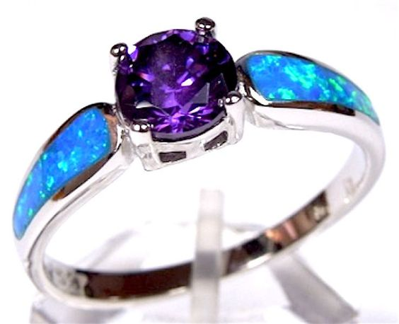 Amethyst & Blue Fire Opal Inlay Genuine 925 Sterling Silver Ring size 6,7,8,9 #Unbranded #Solitaire
