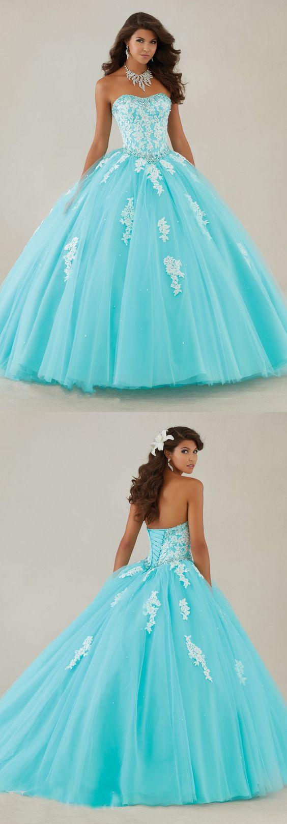 Blue Quinceanera Dresses,Ball Gown Dress,Appliques Quinceanera Dresses,Sweet 16 Dress,