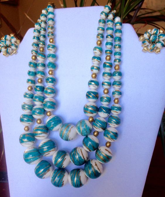 Vintage Turquoise Gold White Lucite Graduated 3 Strand Necklace Clip Earring Set by HiltonHeadThriftShop on Etsy