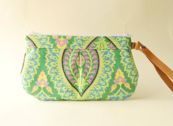 Zipper wristlet clutch  purse with leather strap   by TinyDaisy