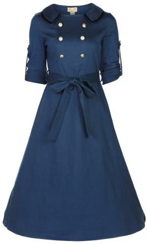 Lindy Bop 'Velma' Vintage WW2 1940 double breasted robe de thé militaire (46, Bleu Ardoise) Lindy Bop http://www.amazon.fr/dp/B00FGST88Q/ref=cm_sw_r_pi_dp_vGWGub0VBF4SM