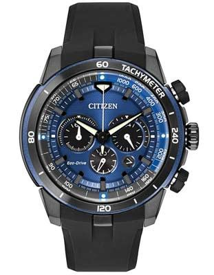 Citizen Mens Ecosphere Chrono- Black IP Case - Blue Dial - Tachymeter