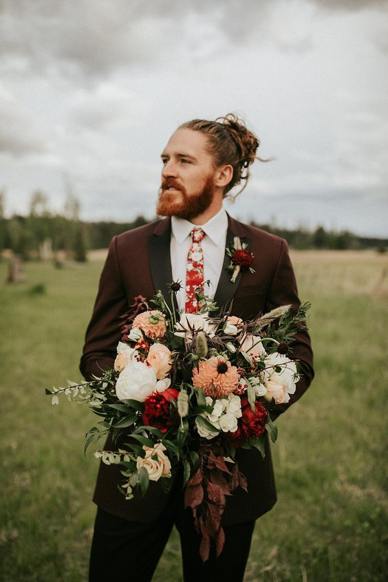 Montana Rustic Bohemian Styled Elopement   Montana Elopement Photographer   elsaeileenphotography.com  Groom style and fashion   Moody groom style   Groom what to wear for wedding   Groom with floral tie   Maroon Tux for the groom    Autumn wedding ideas   Fall groom fashion   Montana wedding photographer