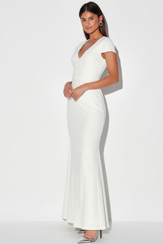Always With Elegance White Cap Sleeve Mermaid Maxi Dress In 2020 Stylish White Dress White Dresses For Women Little White Dresses