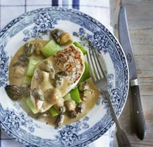 Raymond Blanc - poached chicken with cream, morels and leeks | Poultry ...
