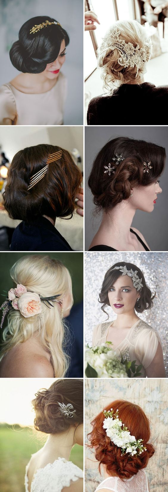 Like the scattered pins second row right and the two left images on the bottom two rows - the hairstyles too!