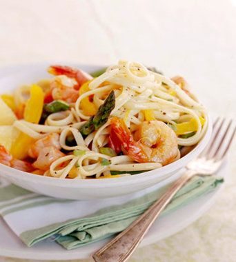 Saucy Shrimp and Pasta Recipe---substitute another pasta for easier eating