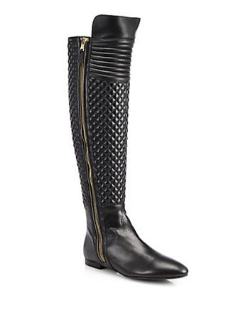 Brian Atwood Ares Quilted Leather Knee-High Boots - Avenue K