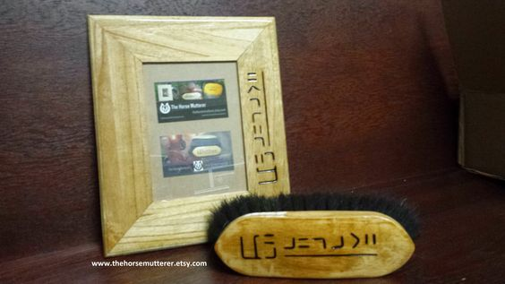 Custom BLM branded brush and picture frame from TheHorseMutterer #blmmustang #custombrushes #etsy #equestriangifts #equestriandecor