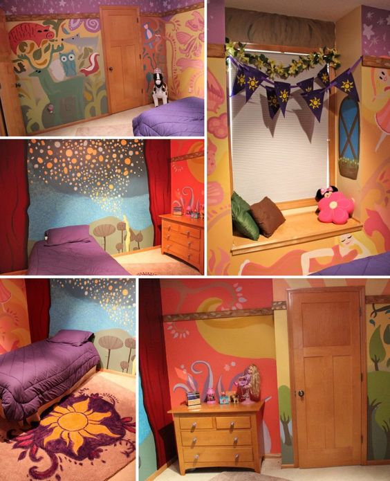 TANGLED REAL-LIFE ROOM! A talented artist recreated this room for her daughter based on Rapunzel's tower! The art inside the walls of her tower has been portrayed in this little girl's room. Best mom EVER. Source: becomingirreplaceable