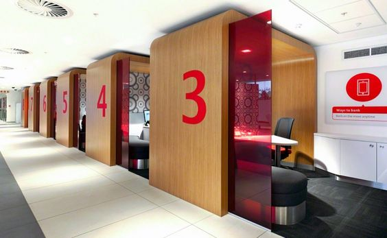 Scrap it all and go with these! No glass walls and we can take them with us to the next location!  From Individual Pods retail bank design absa 8.