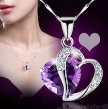 Fashion Women Heart Crystal Rhinestone Silver Chain Pendant Necklace Jewelry: