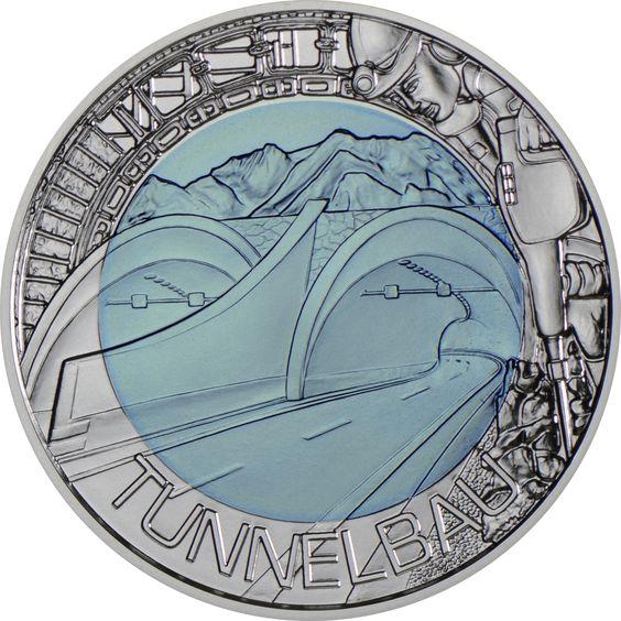 """25 Euro Silber/Niob Tunnelbau PN Österreich spielte als Alpenland mit zahlreichen Bergen schon immer eine entscheidende Rolle im Tunnelbau. Die eisblaue Silber-Niob-Münze des Jahres 2013 widmet sich in der Serie """"Faszination Technik"""" der Konstruktion von Tunnel in Österreich. 900/1000"""