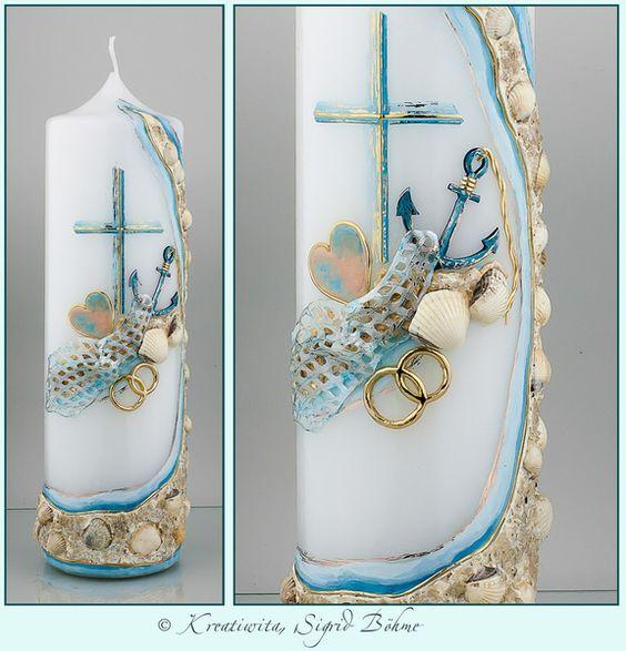 Hochzeitskerze DW 526 mit Muscheln und Sand von  Kerzenkunst -  Kreatiwita auf DaWanda.com