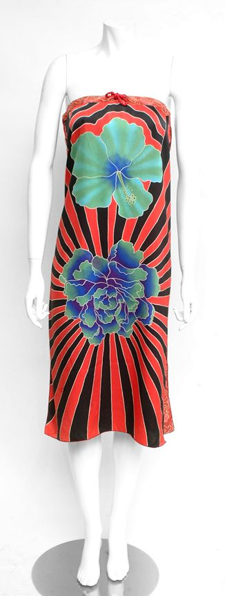 wearable art and resort wear-flower red and black skirt