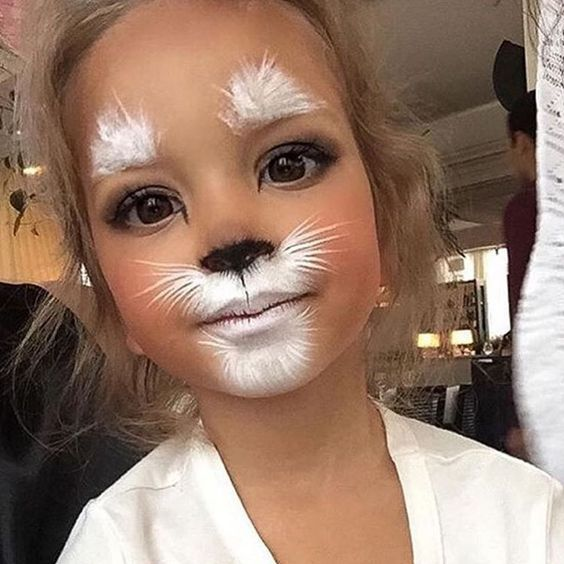 How cute ☺️Kiddos Halloween Makeup #halloween #costume #holiday: