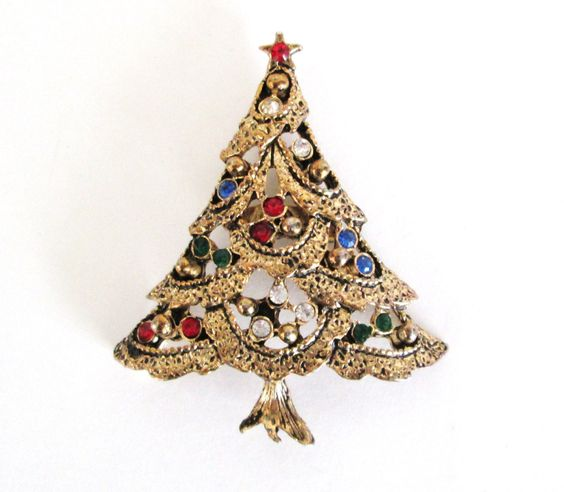 Christmas Tree Brooch Antiqued Gold Tone Colored Rhinestones Vintage Pin