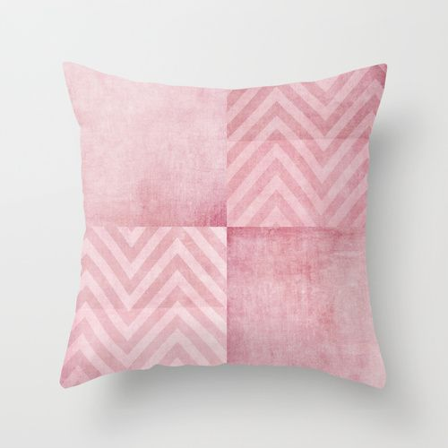 pink chevron Throw Pillow #chevron #pink #abstract #squares #cool #home #decor #bedroom