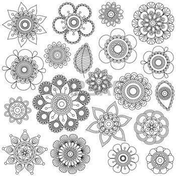 Bouddha lotus collection vecteur de griffonnage style fleurs ou mandalas illustration magical - Mandala fleur de lotus ...