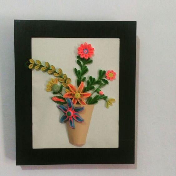 Quilling Paper :: Bunga bunga di dalam vas. Memperkenalkan bunga dengan teknik penggunaan quilling comb