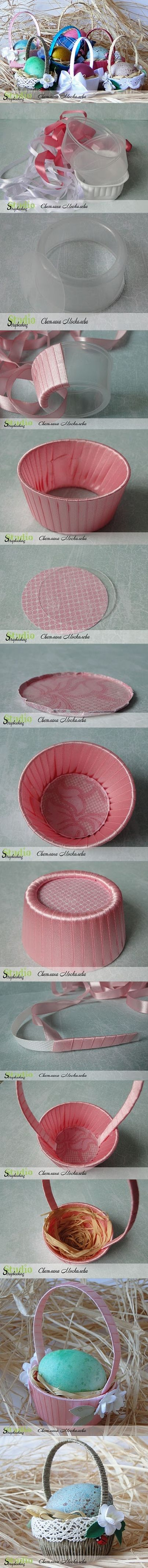 Cesta de Páscoa de DIY com tigela de plástico descartável - http://www.healthdaily.me/diy-easter-basket-with-disposable-plastic-bowl/: