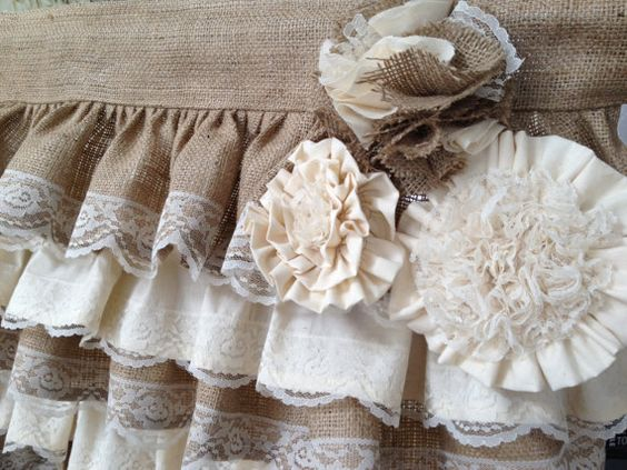 Ruffles fabric flowers and valances on pinterest for Burlap and lace bedroom