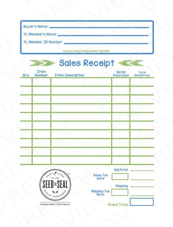 Young Living themed sales receipt for retail sales. Can also be ...