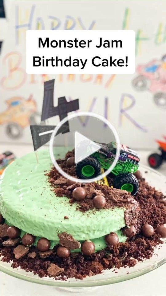 Monster Jam Birthday Cake Tutorial Easy To Bake Birthdaycake Birthdayparty Monsterjam Con In 2020 Easy Baking Monster Jam Birthday Cake Birthday Cake Tutorial