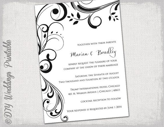 Wedding invitation templates black and white  - download free wedding invitation templates for word