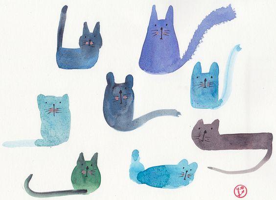 Les Chats Bleu, art by Carmie Araujo