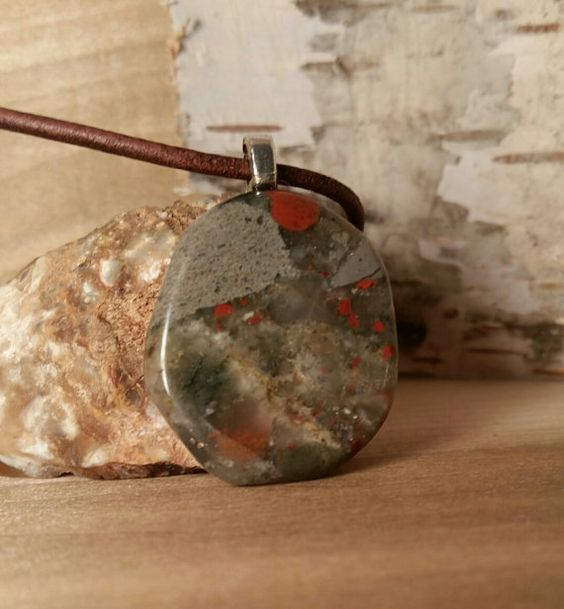 Bloodstone Worry Stone Necklace-Brown Leather by LeatherVision