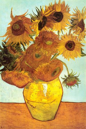 """Sunflowers, C. 1888 by Vincent van Gogh. """"Sunflowers,"""" now synonymous with van Gogh, is one of a signature series representing life's stages in the sunflowers' various phases of bloom. Declaring that """"the sunflower is mine, in a way,"""" Van Gogh used an innovative yellow spectrum made possible by newly invented pigments. Art print from Art.com."""