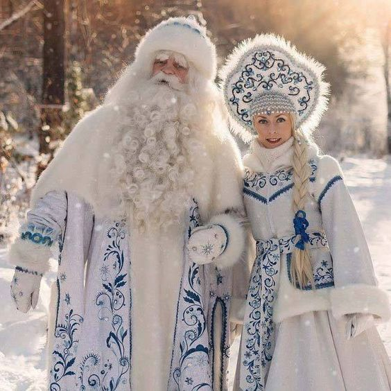 The Russian Santa Claus (Ded Moroz) and the Snow Maiden in before the red Coca Cola commercialization.