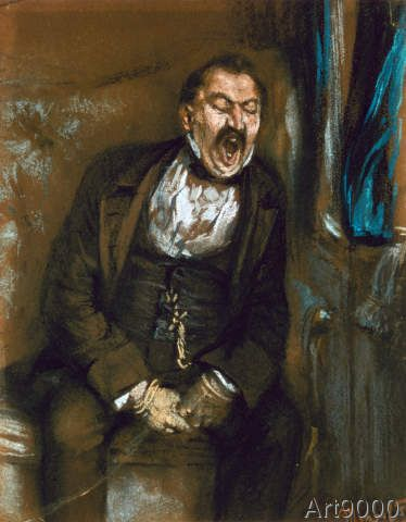 Adolph von Menzel - Gähnender Herr im Eisenbahncoupé