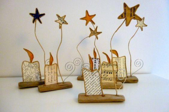 Lot de 6 petites bougies - sujets en ficelle et papier