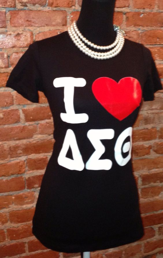 i love delta sigma theta t shirt black on etsy