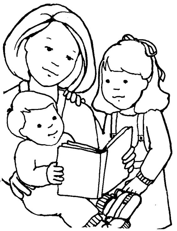Mormon Share Woman And Little Kids Clip Art Free Clip Art Clipart Black And White