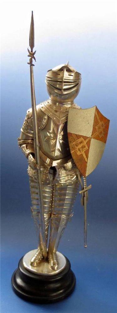 Malta Knight in Armour Templar Figure Medieval Metal Maltese Vintage Model