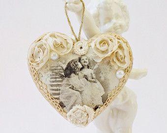 Corazón decoración árbol de Navidad por VintageLullabyDesign