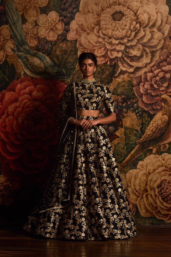 Indian Lehenga Choli Designs For Wedding Floral Dark Blue Sabyasachi Mukherjee