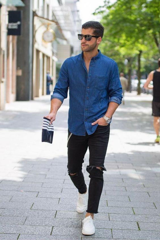 5ad176fe5533c Hombres  Cómo combinar una camisa de jean para distintas ocasiones ...