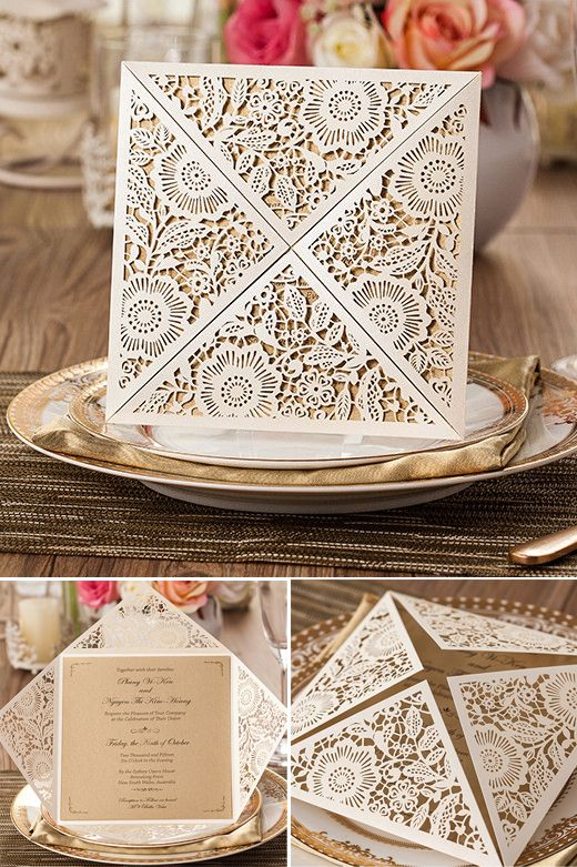 four sides open envelope Style laser cut wedding invitation card