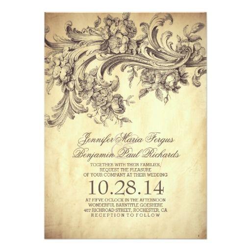 vintage flourish & swirls chic old wedding invites