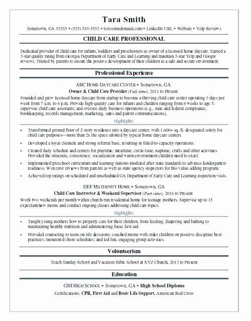 46 Lovely Child Care Resume Template In 2020 Education Resume Family Day Care Child Care Professional