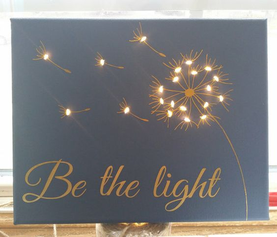 Dandelion Lighted Canvas by KandCStudios on Etsy