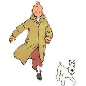 コートを着てスノーウィと散歩中のタンタンの画像