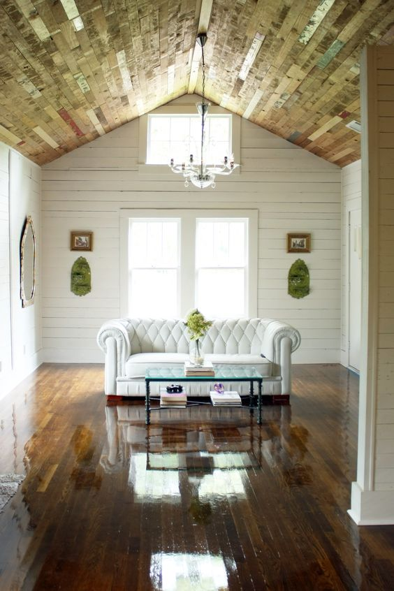 Reclaimed wood ceiling with shiplap walls. attic conversion