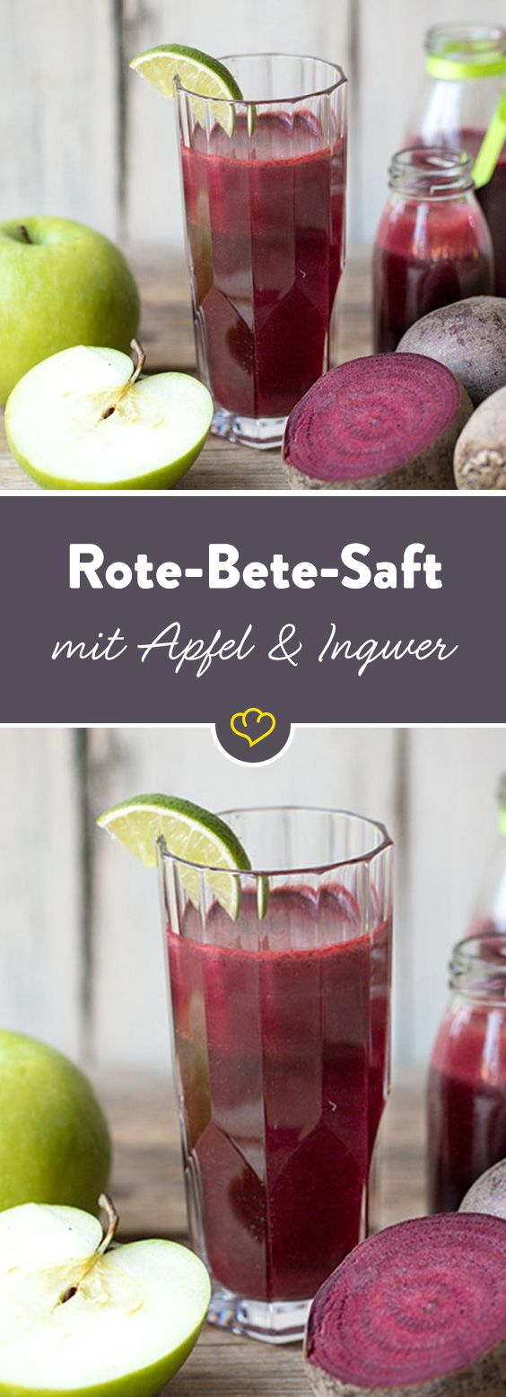 Rote Bete ist aus der Detox-Küche nicht weg zu denken. Besonders lecker als Saft. Und in der Kombination mit Apfel und Ingwer sogar ziemlich lecker.